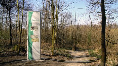 Kilometerstein des alten Lippe-Treidelpfades, Naturpark Hasselbecke