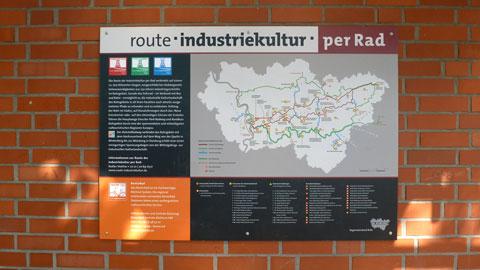 Karte der Route Industriekultur per Rad am Busbahnhof